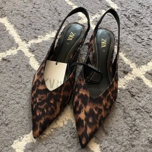 NWT ZARA leopard print 🐆sling back size 7.5